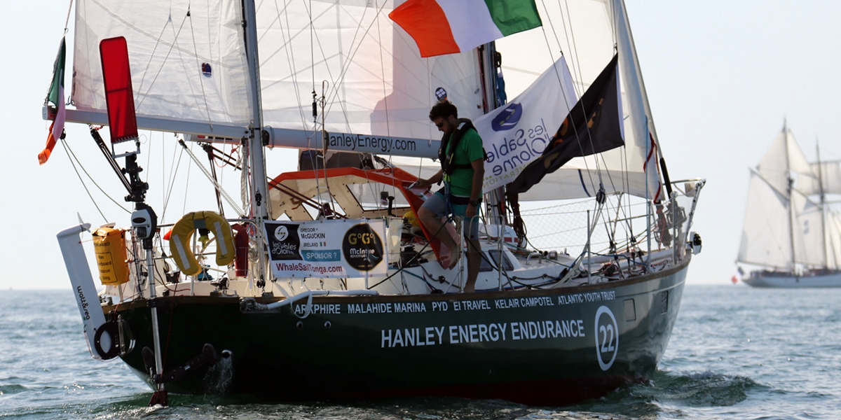 Gregor McGuckin departs on the round the world Golden Globe Race